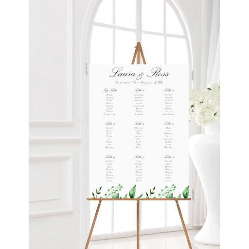 Greenery Botanical Leaf Wedding Table Planner
