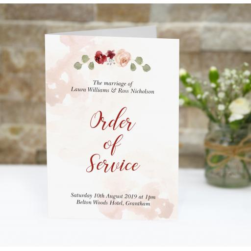Blush & Burgundy order of service booklets x 50