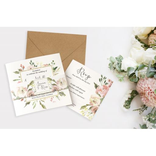 Blush Wedding Invitation - full set x 25