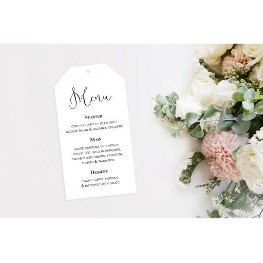 Calligraphy Wedding Menu Tags