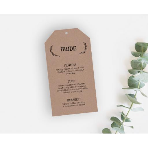 Laurel Wreath Wedding Menu Tags
