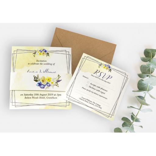 Primrose Yellow & Blue Invitation - full set x 25
