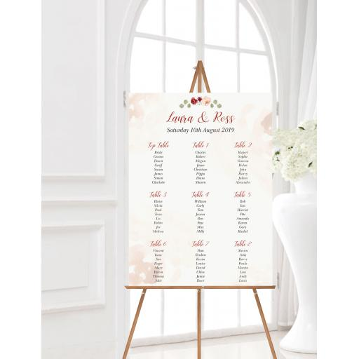 Blush and Burgundy Wedding Table Planner