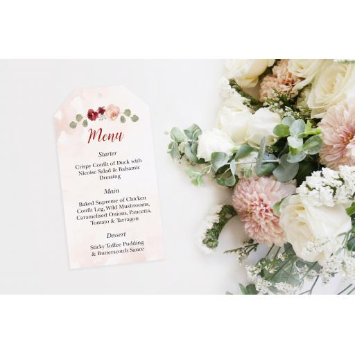 Blush & Burgundy wedding menu tags