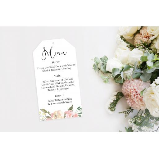 Blush wedding menu tags