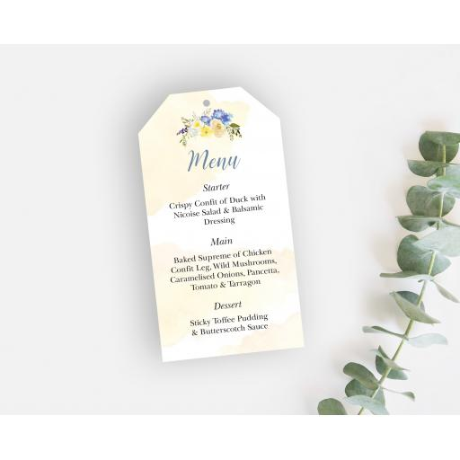 Primrose Wedding Menu Tags