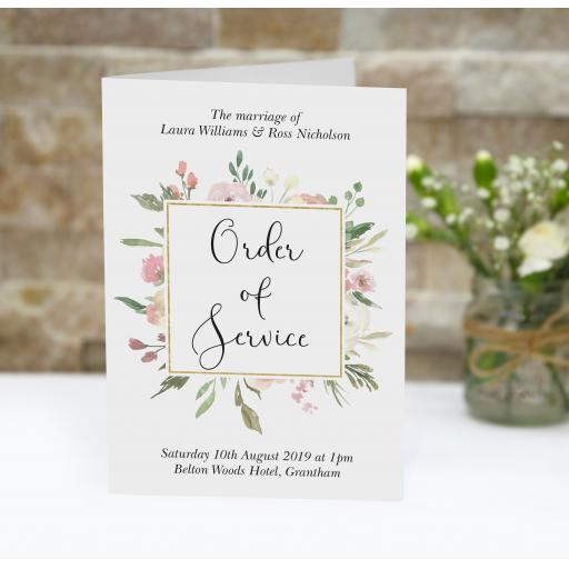 Blush order of service booklets x 50