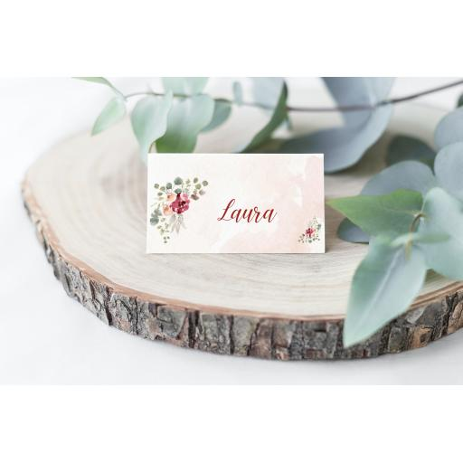 Blush and Burgundy Wedding Place Cards x 50
