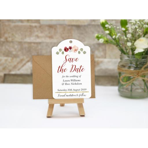 blush & Burgundy save the date tags