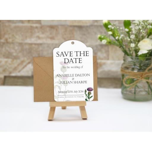 Botanical Thistle save the date tags